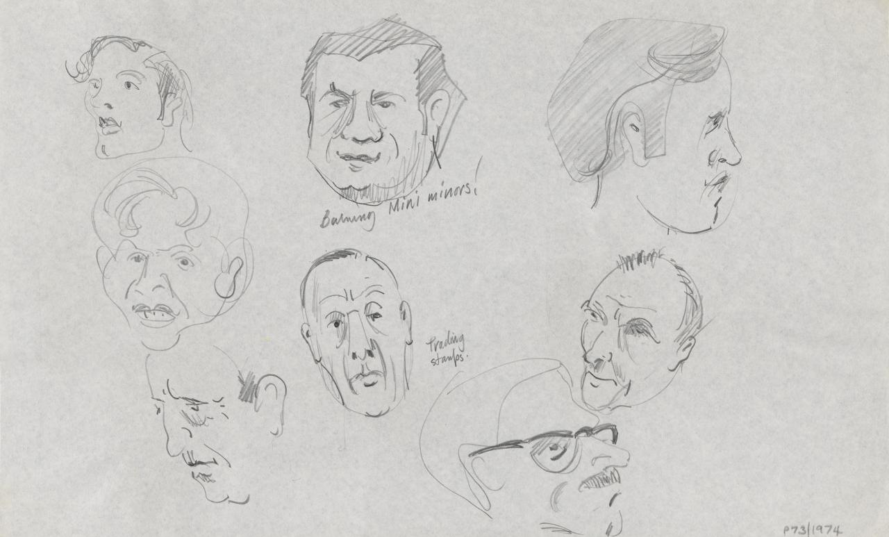 TV drawing: Trading stamps; (male portraits and profiles)