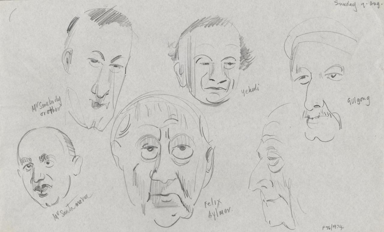 TV drawing: Mr Somebody or other; Mr Santamaria; Yehudi; Felix Aylmer; Gulgong; (male profile)