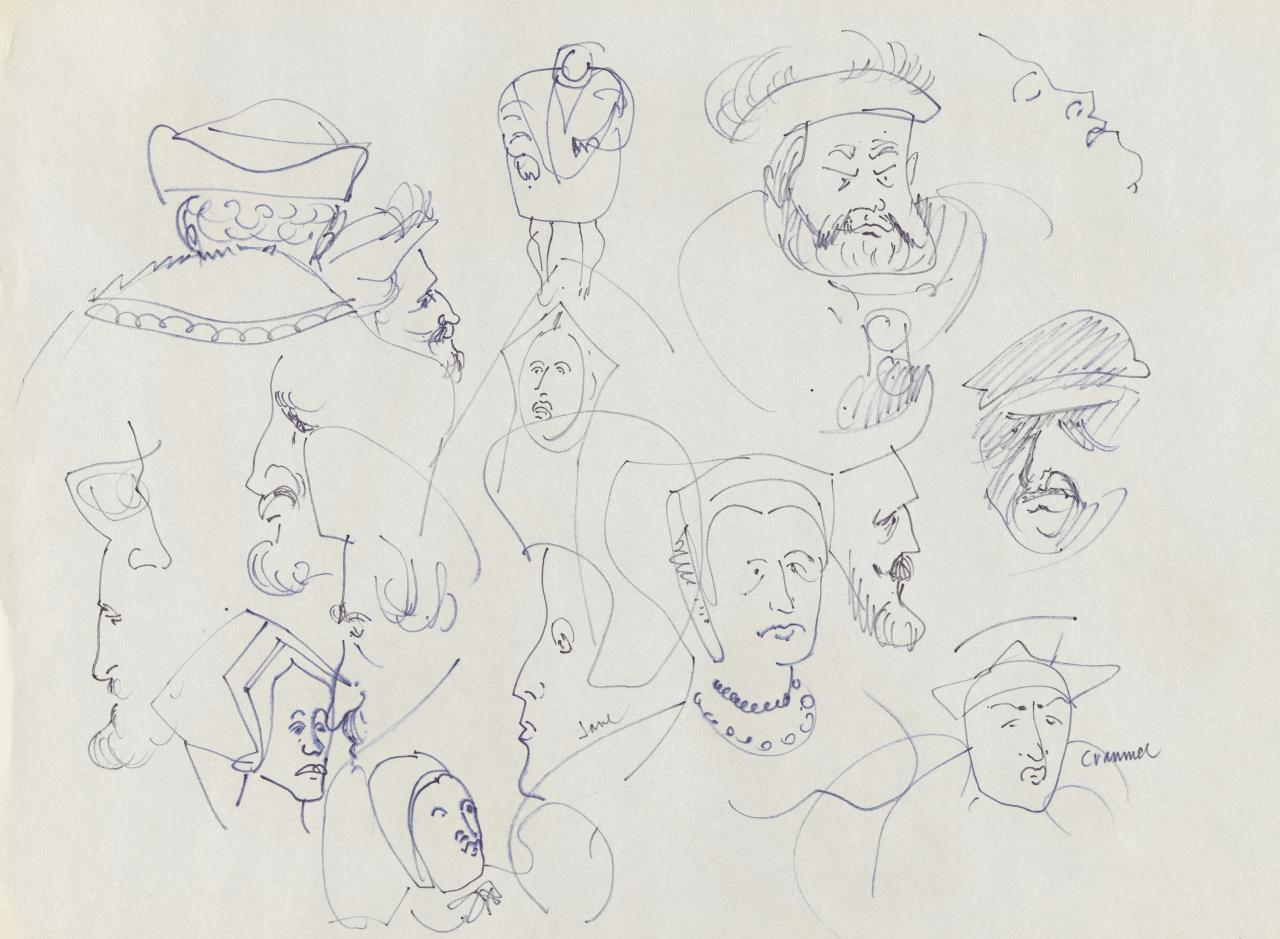 TV drawing: Cranmer; Jane; (Regal and court figures)