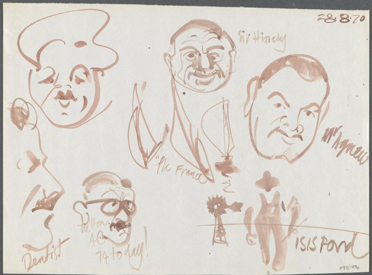 TV drawing: Dentist; Nelton AO 74 today!; The France; Sir Hinery; Mr Agnew; Isis pond; (portrait of man with cap)