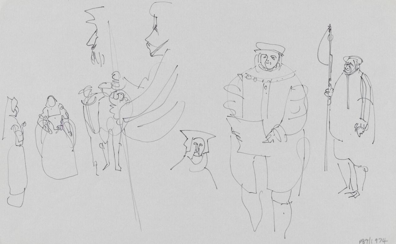 TV drawing: (Regal and court figures)