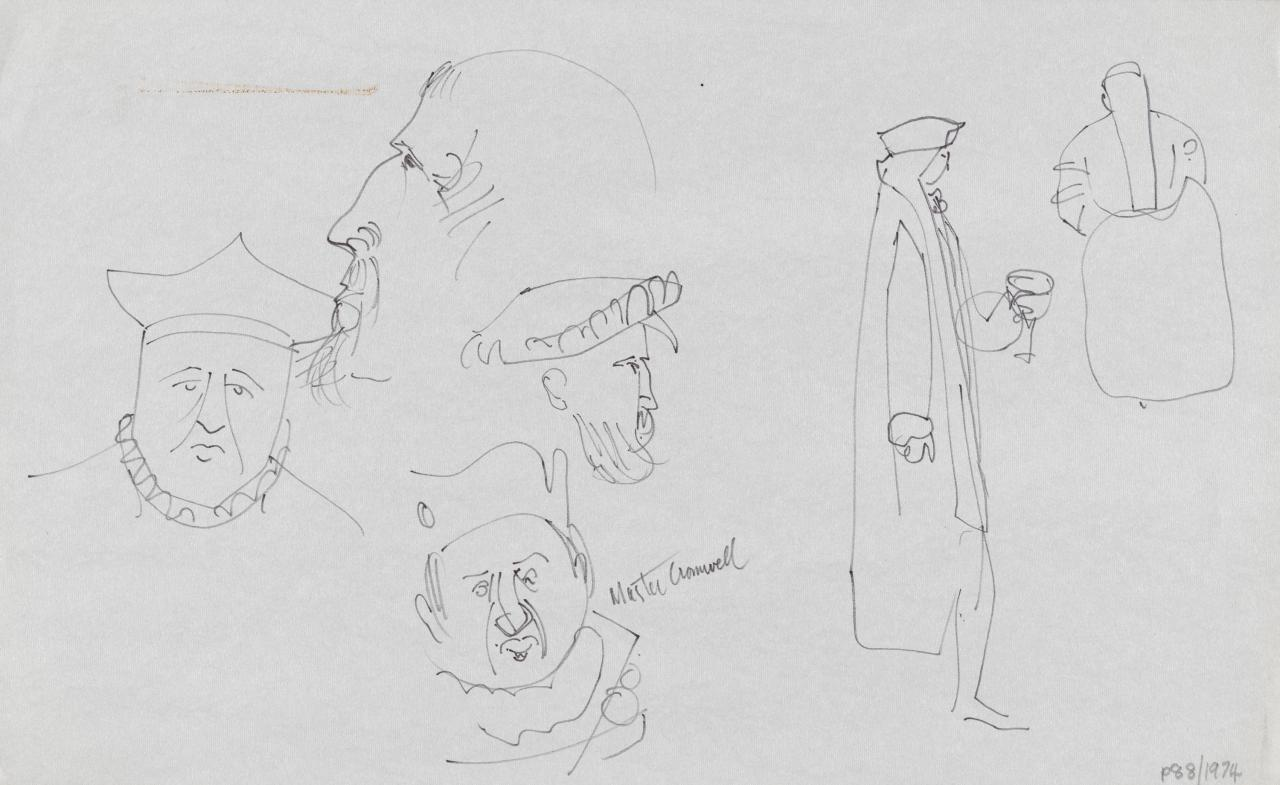 TV drawing: Master Cromwell; (regal and court figures)