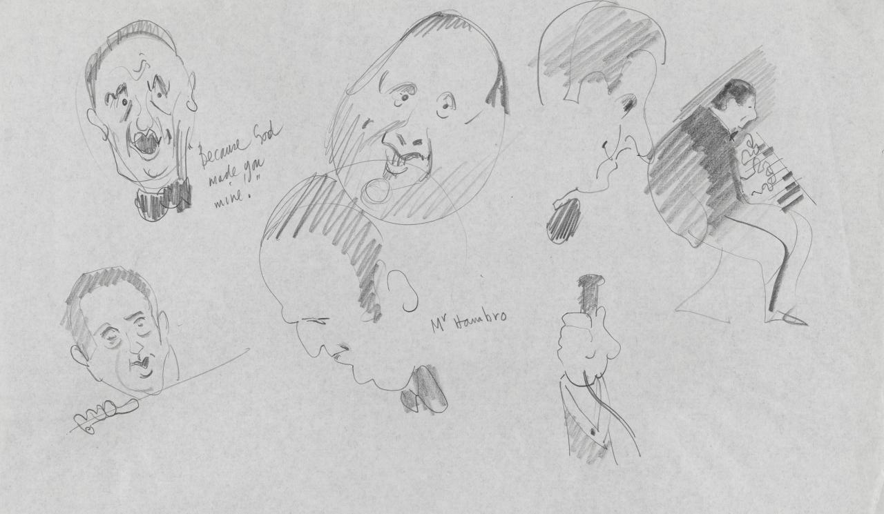 TV drawing: Because God made you mine!; Mr Hambro; (portraits of musicians and male faces)