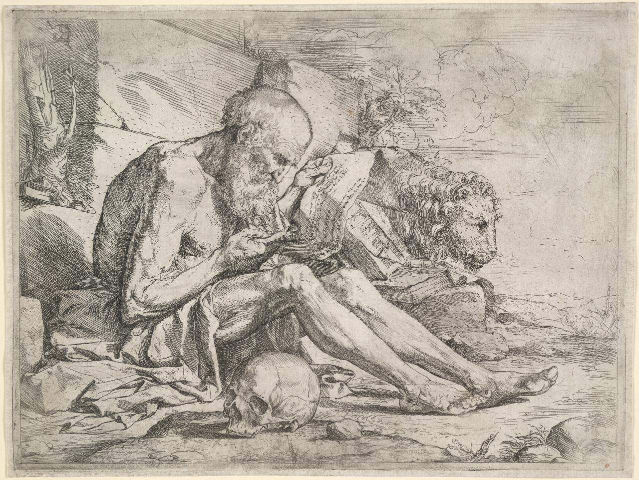 St Jerome in the wilderness, reading