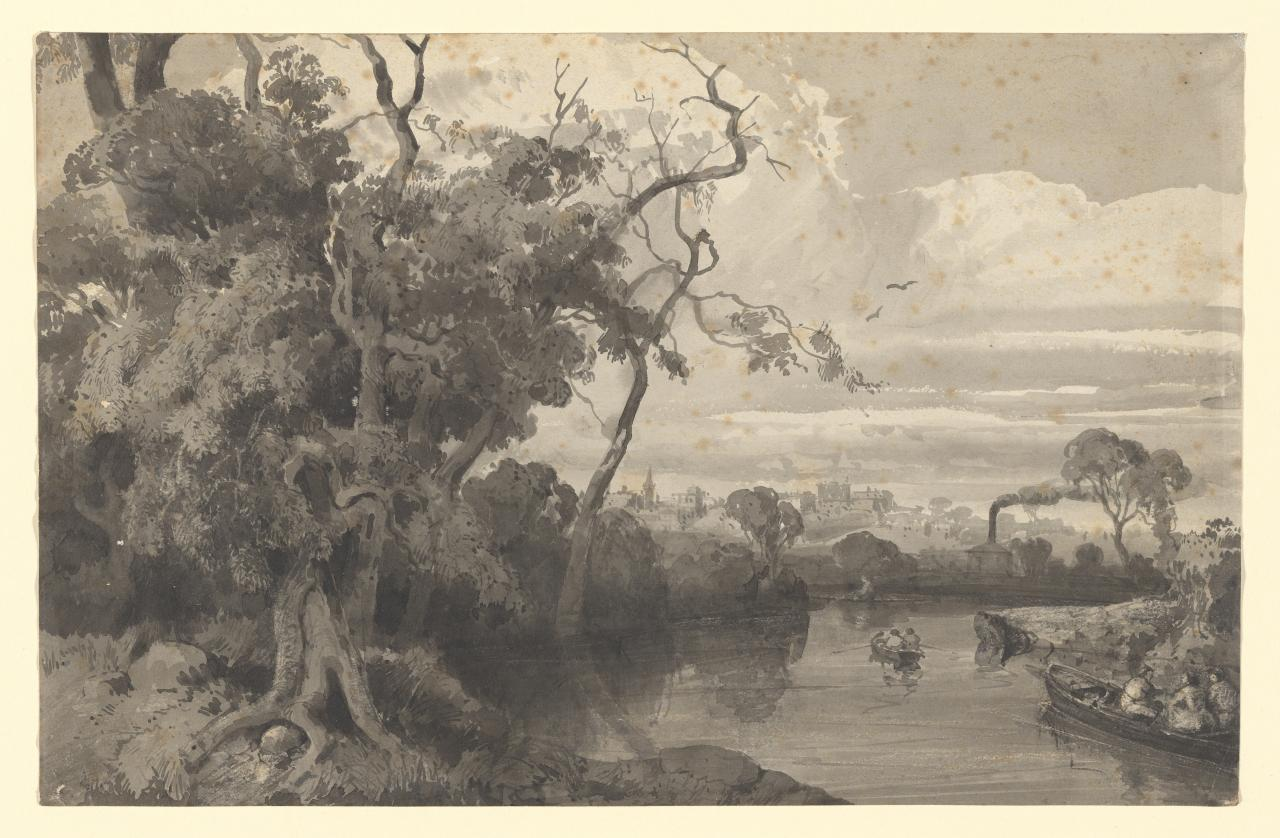 River scene with distant buildings