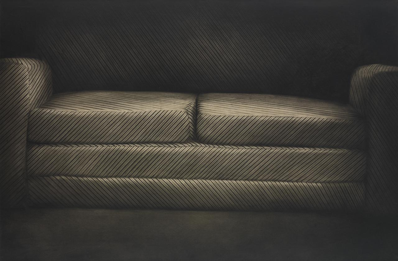 A striped sofa