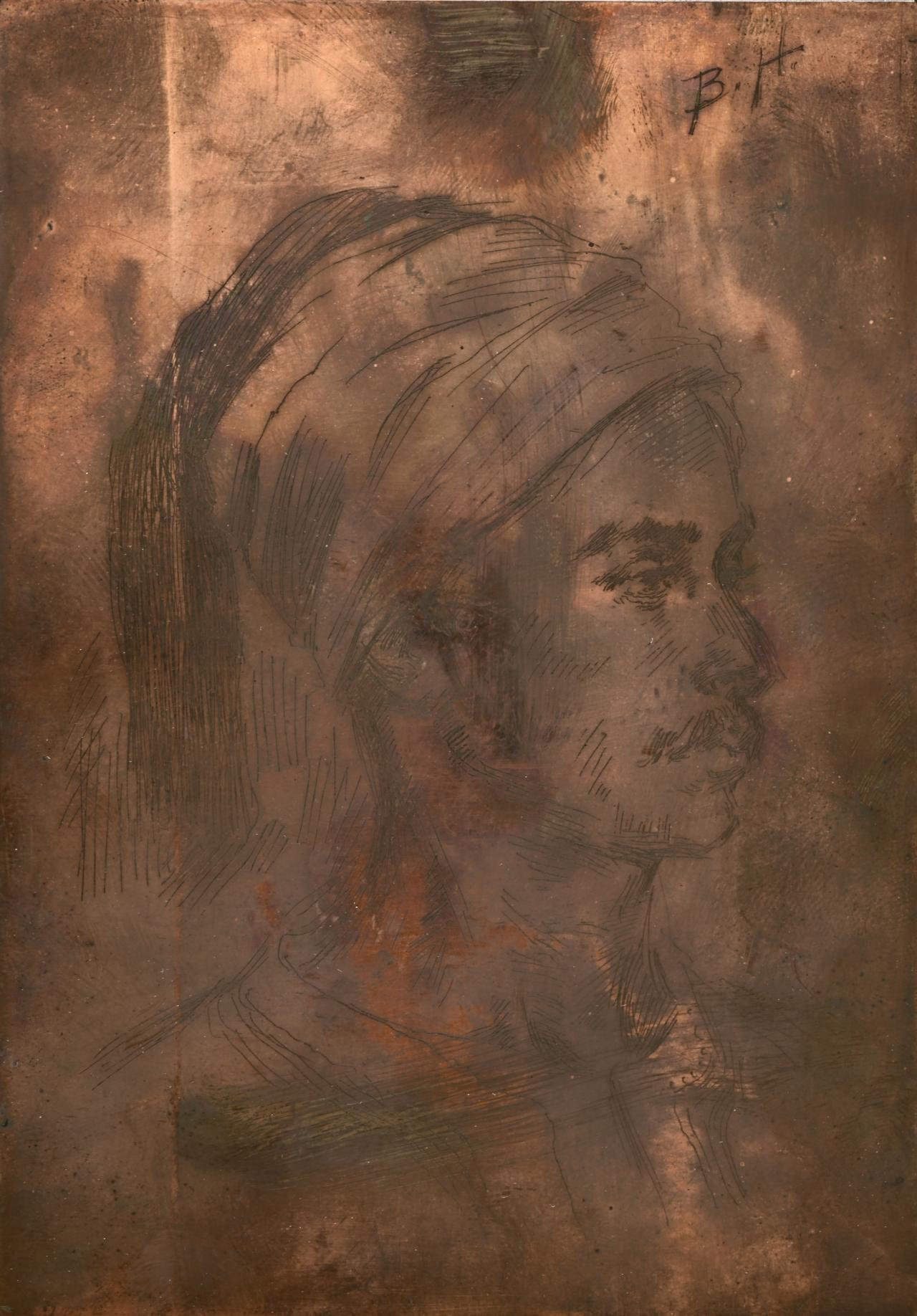 Etching plate for Head of a man with a turban