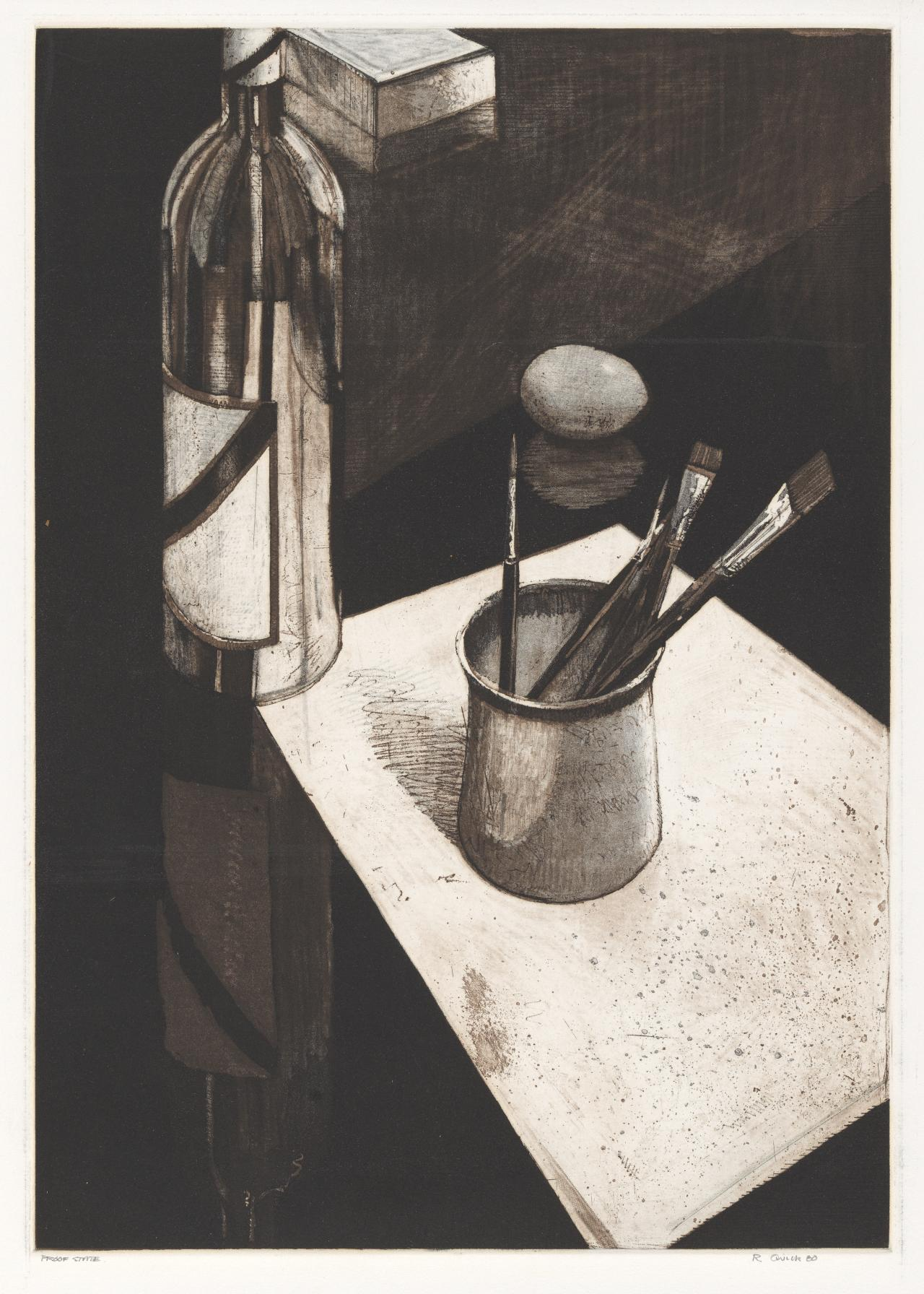Still life with bottle and jar