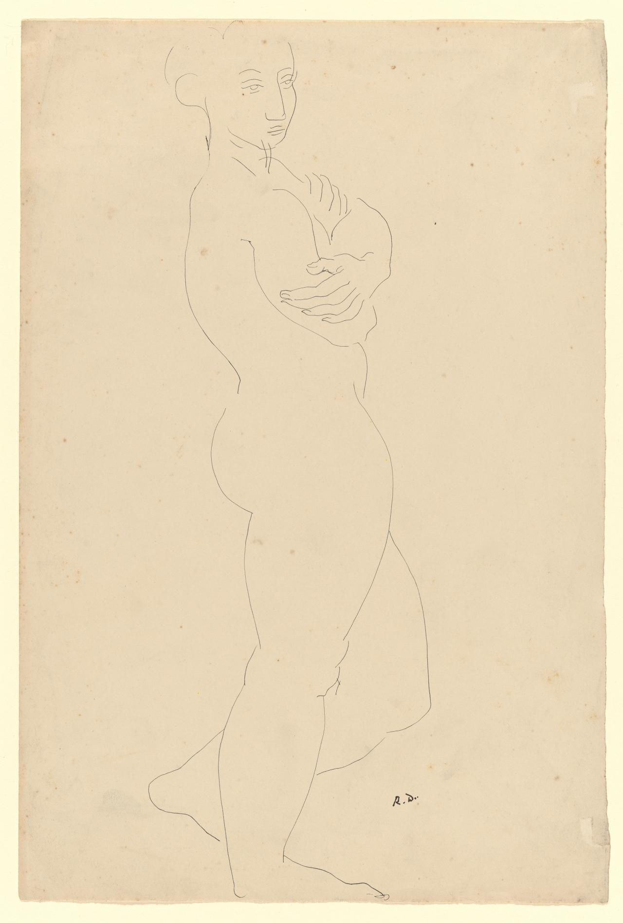 Standing female nude with arms folded
