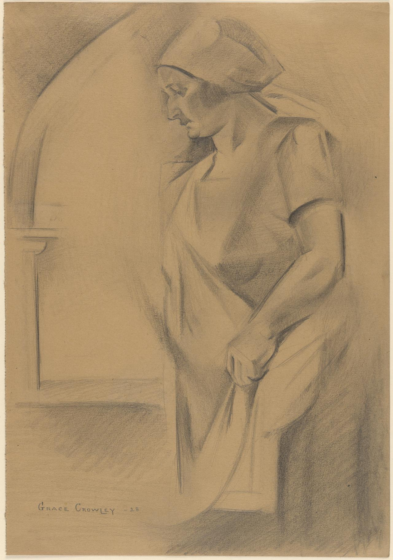 Italian peasant woman standing by a gothic arch