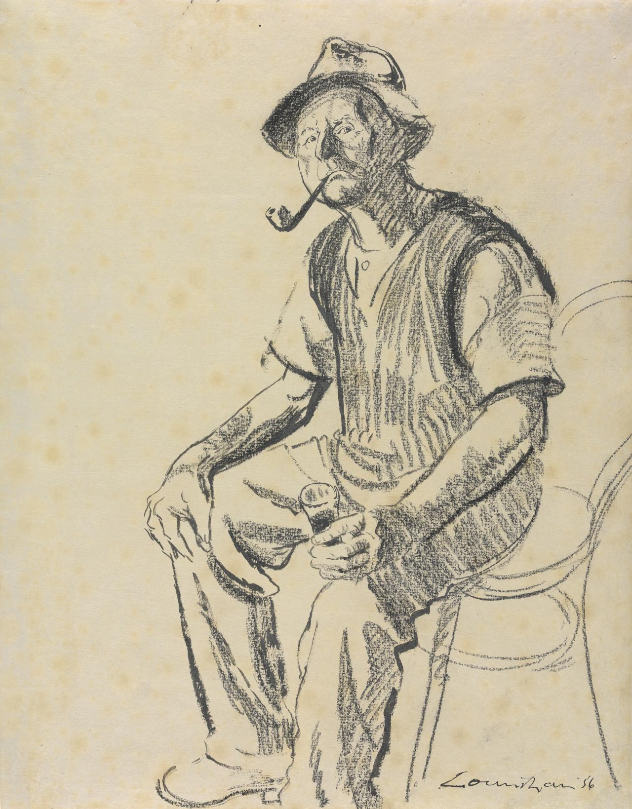 Seated man with pipe and glass