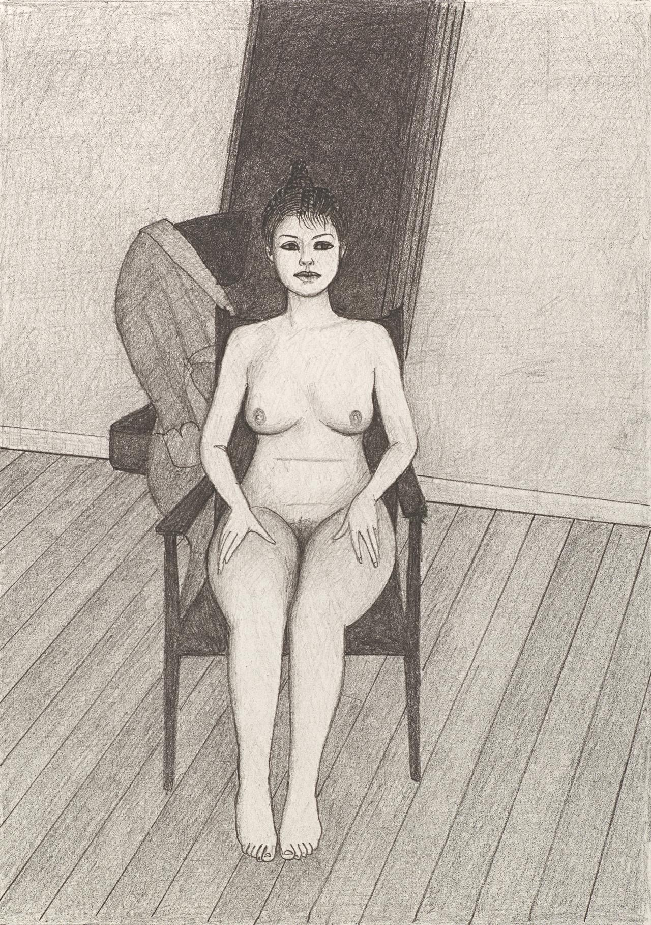 (Nude seated frontal, with folded screen behind)