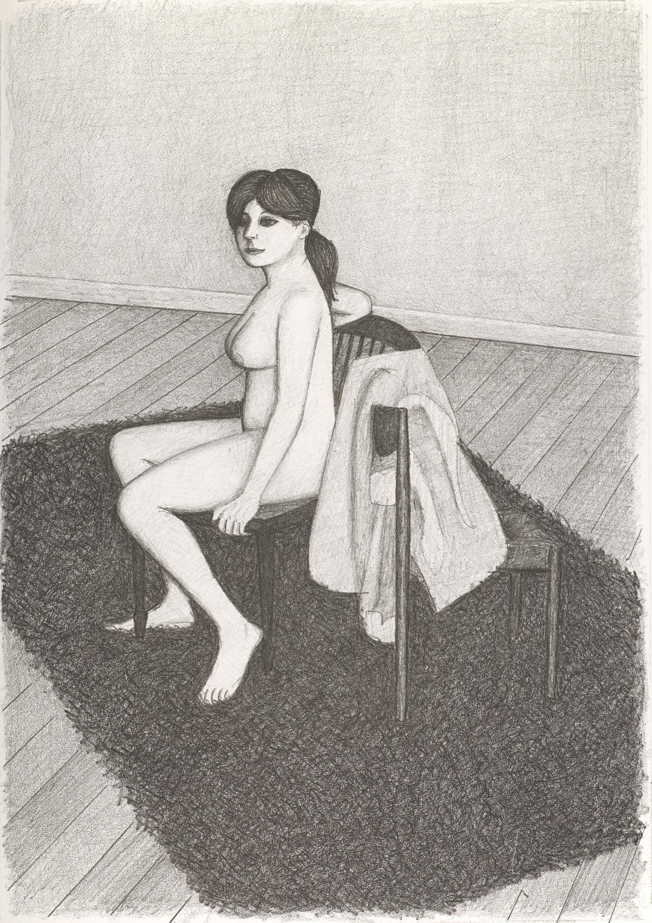 (Nude seated facing left with robe on second chair, on shag rug)