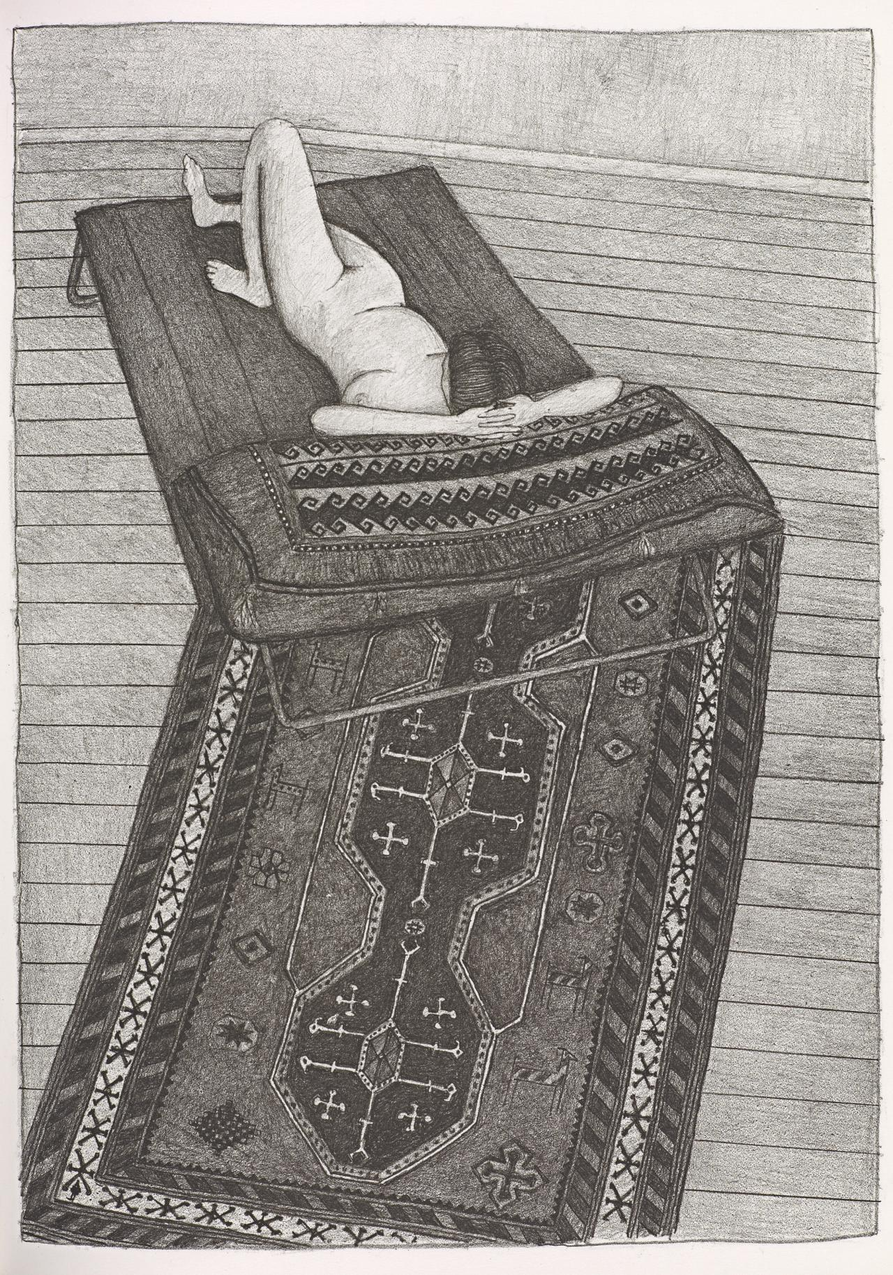 (Nude reclining on divan and cushion, seen from above, on patterned rug)