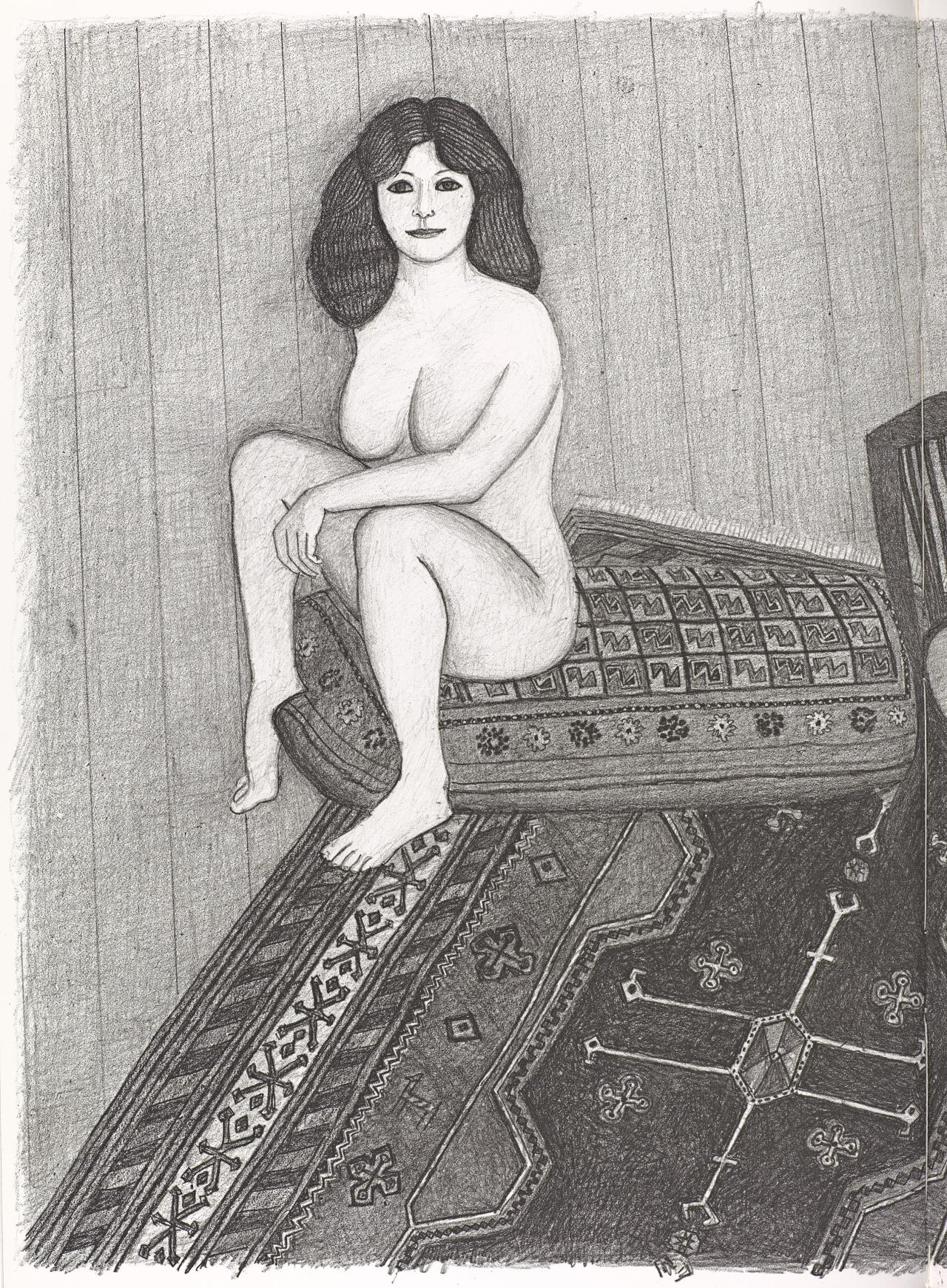 (Two seated nudes, one on cushion and one on chair, on patterned rug)