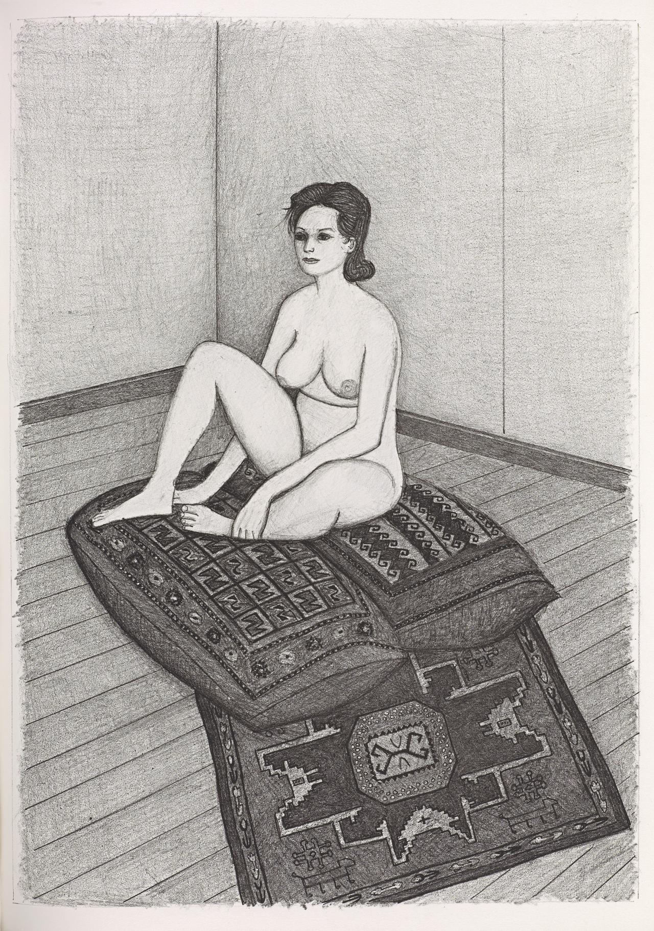 (Nude seated on two cushions and patterned rug)