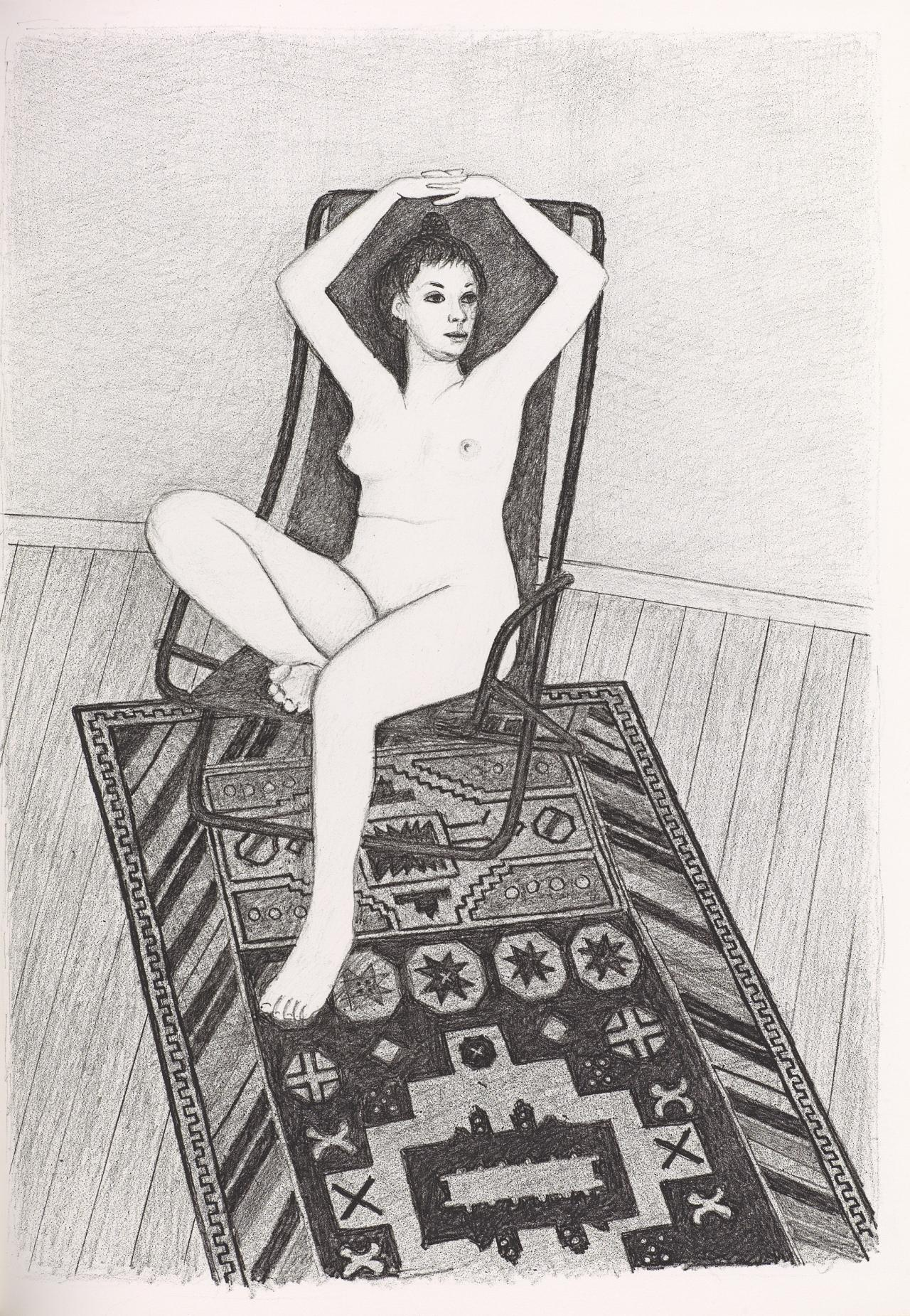 (Nude seated in chair, with fingers linked over head, on patterned rug)