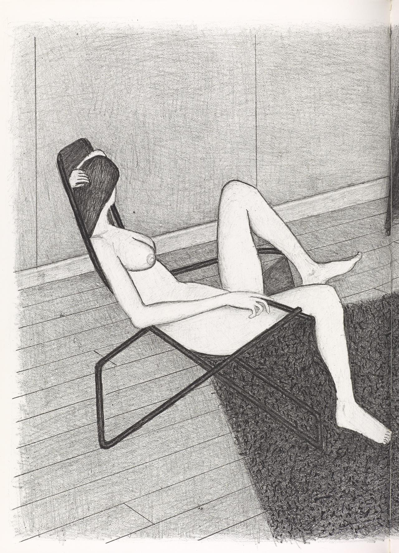 (Nude seated on beach chair with raised knee, facing away, with robe on chair, on shag rug)