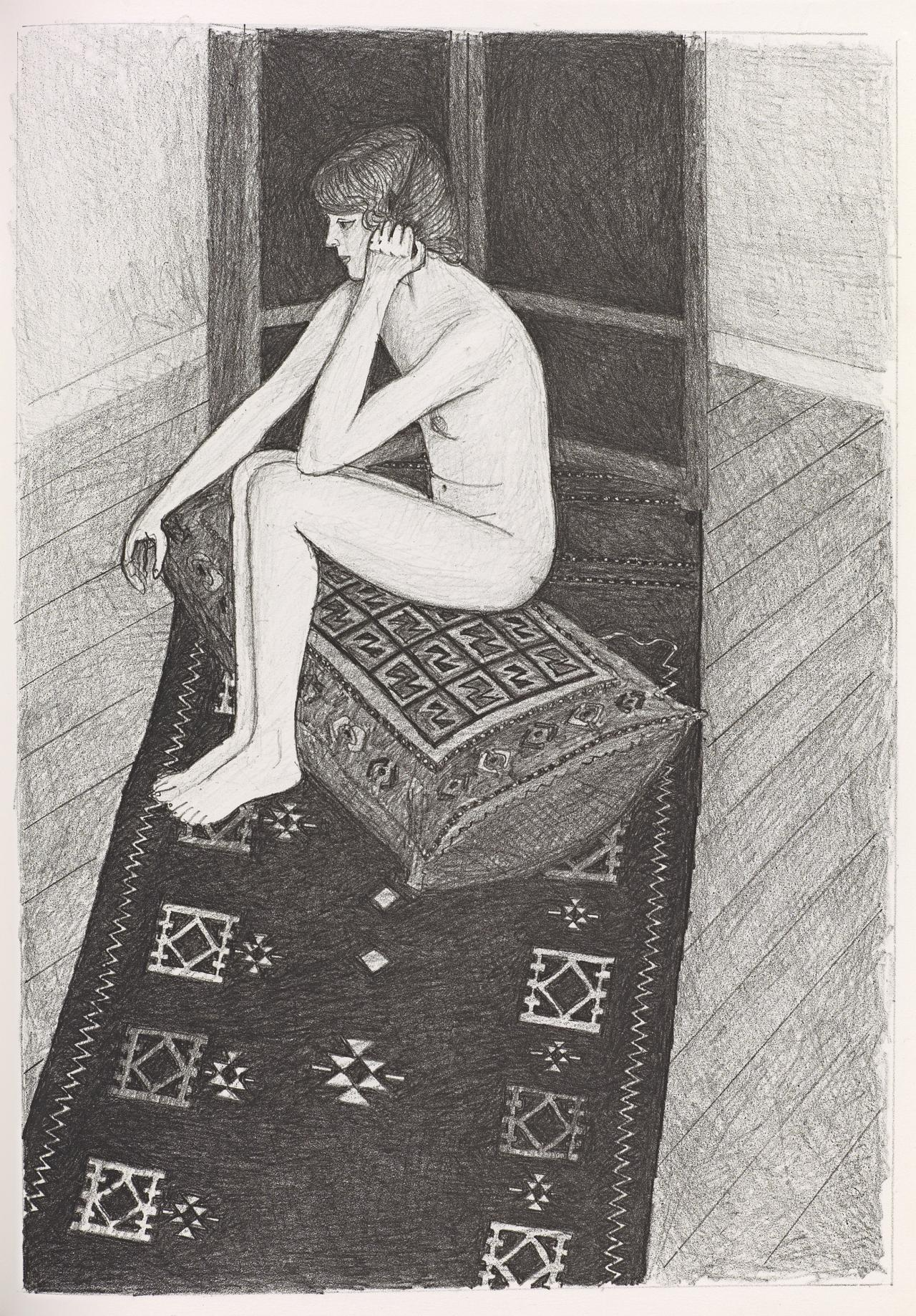 (Nude seated on cushion, resting head on hand, on patterned rug)