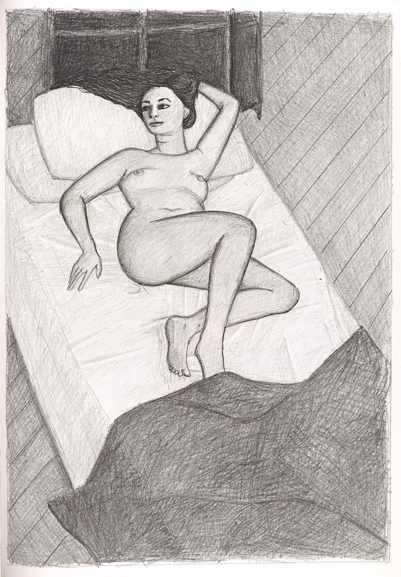 (Nude reclining on bed, her left arm behind head)