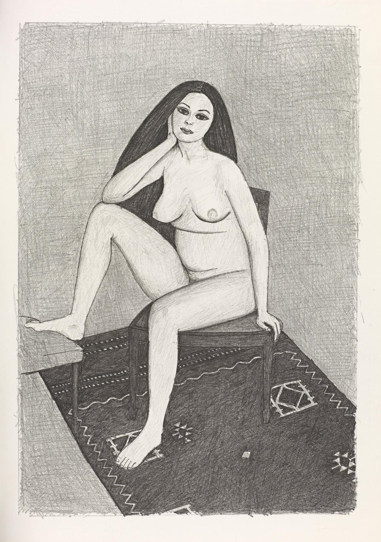 (Nude seated on chair, resting elbow on raised knee, on patterned rug)
