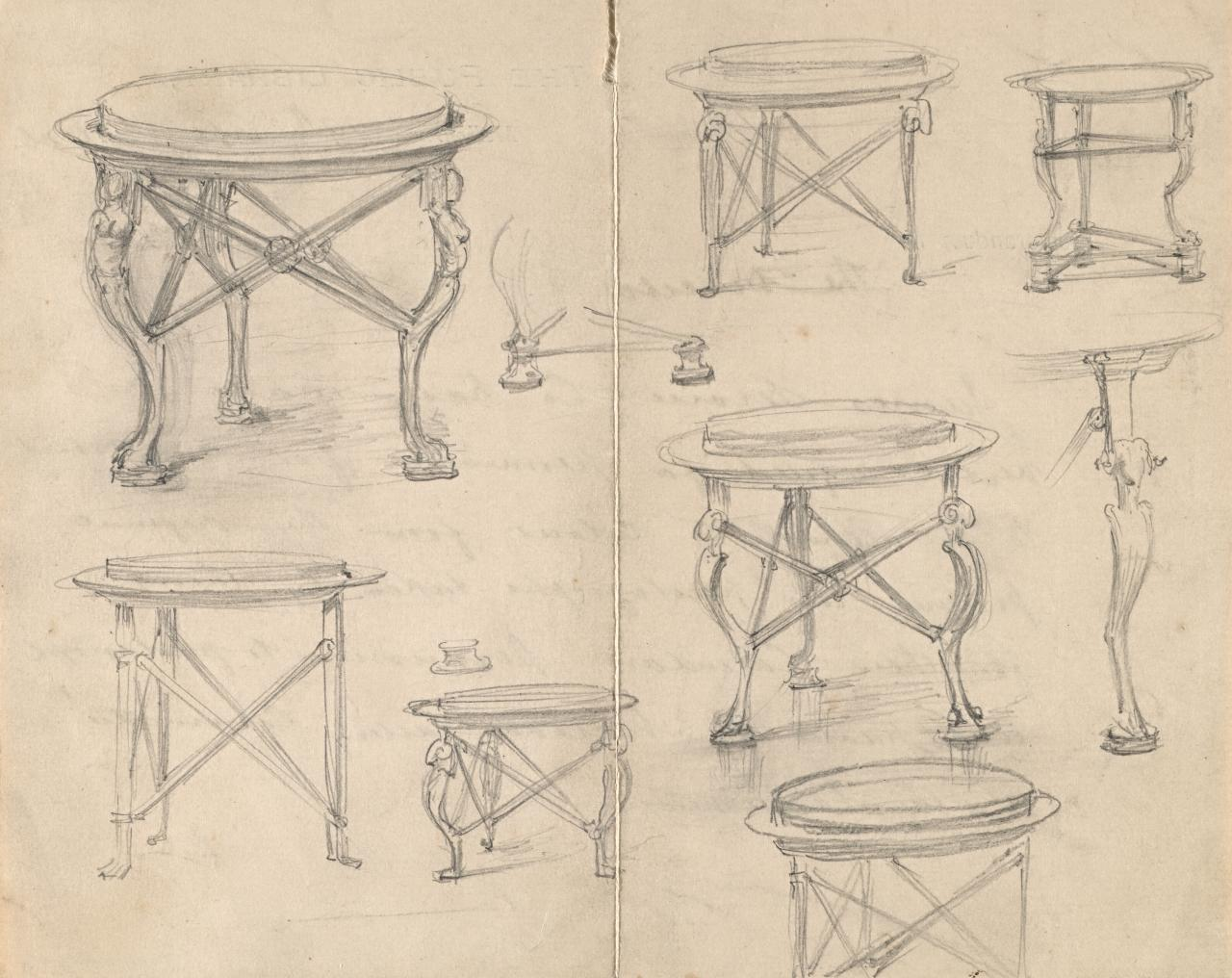 Sketches of a tripod table for Sleep