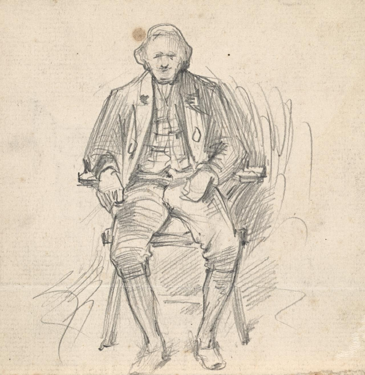 Study of a seated man in period costume