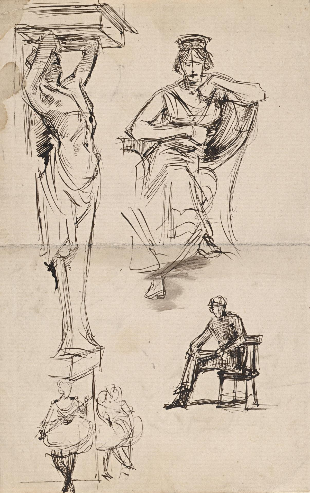 Caryatid, seated figures and dancers