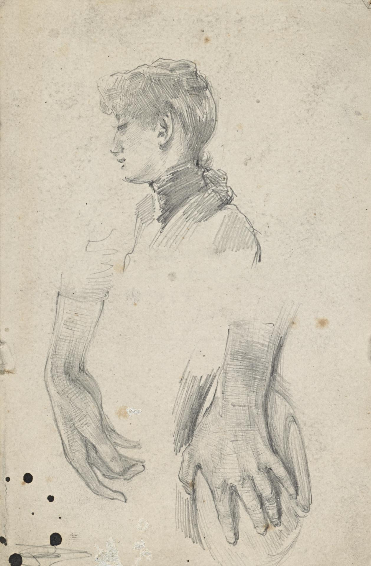 Study of woman's head, hands