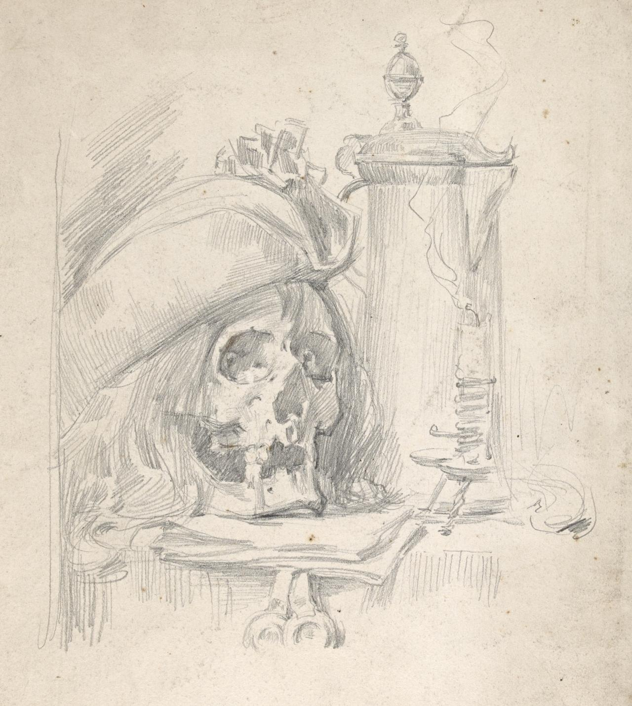 Skull and candlestick