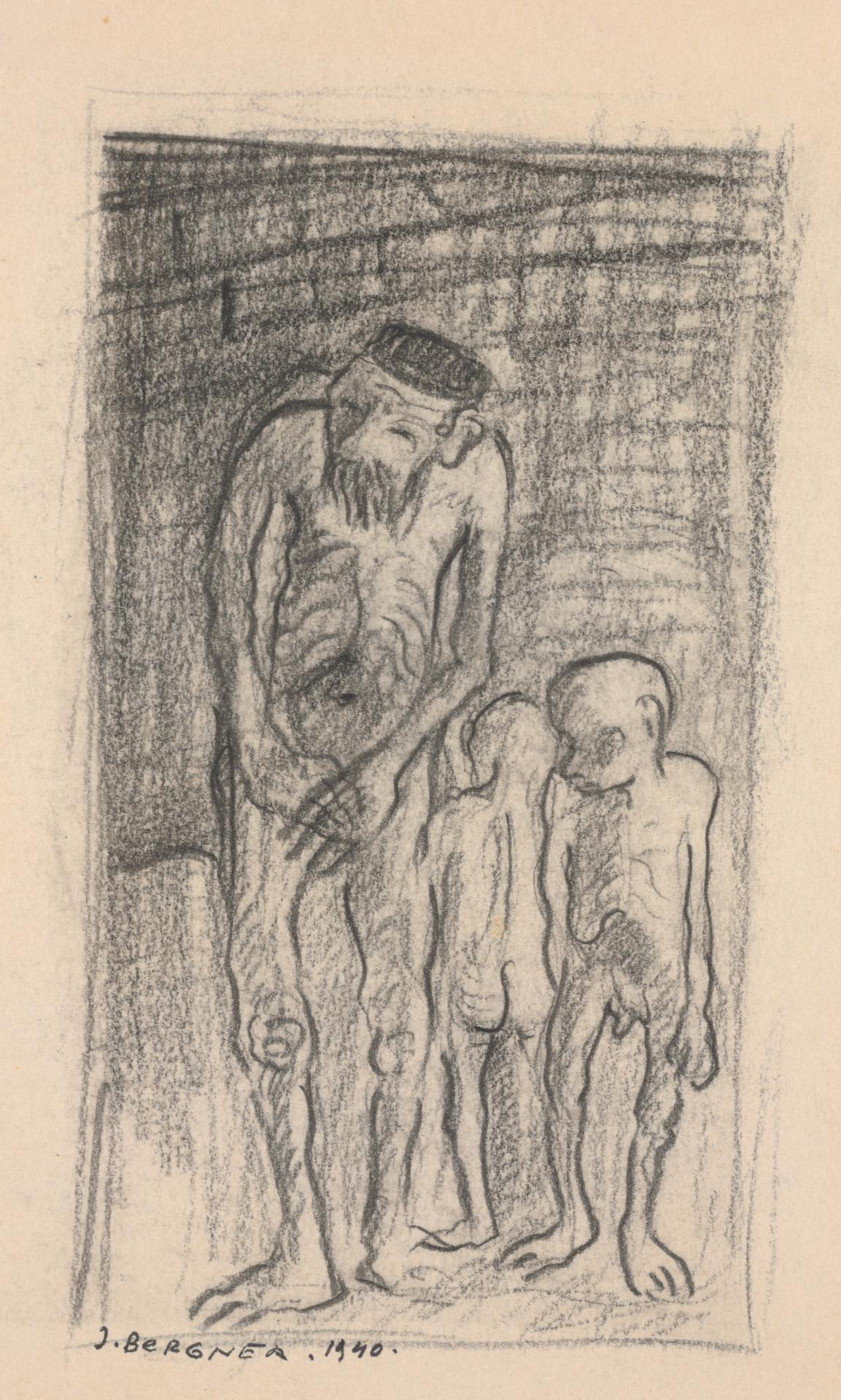 Naked emaciated man with two children