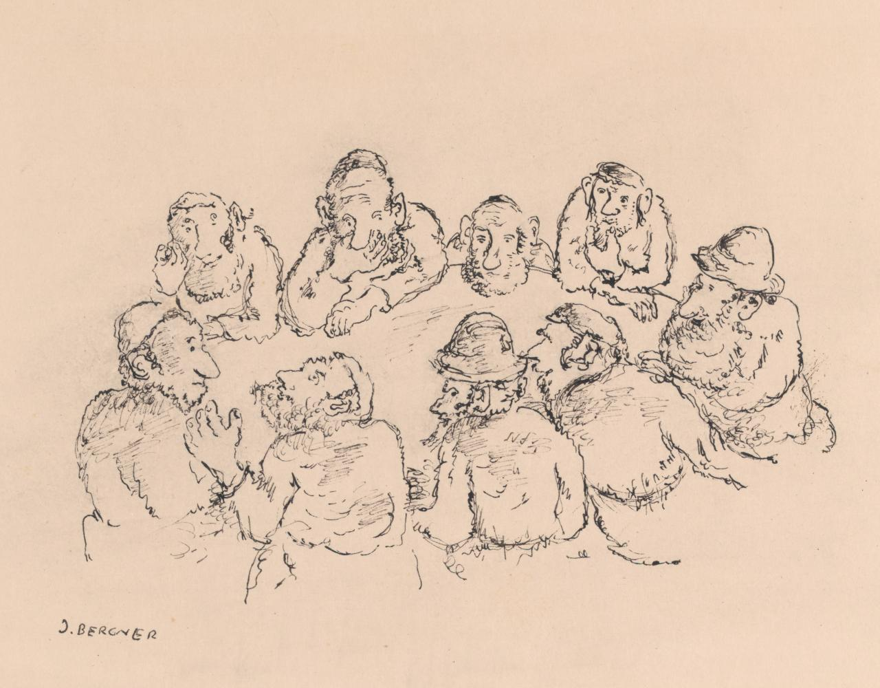 Illustration to a Yiddish story (Nine men seated at a table)