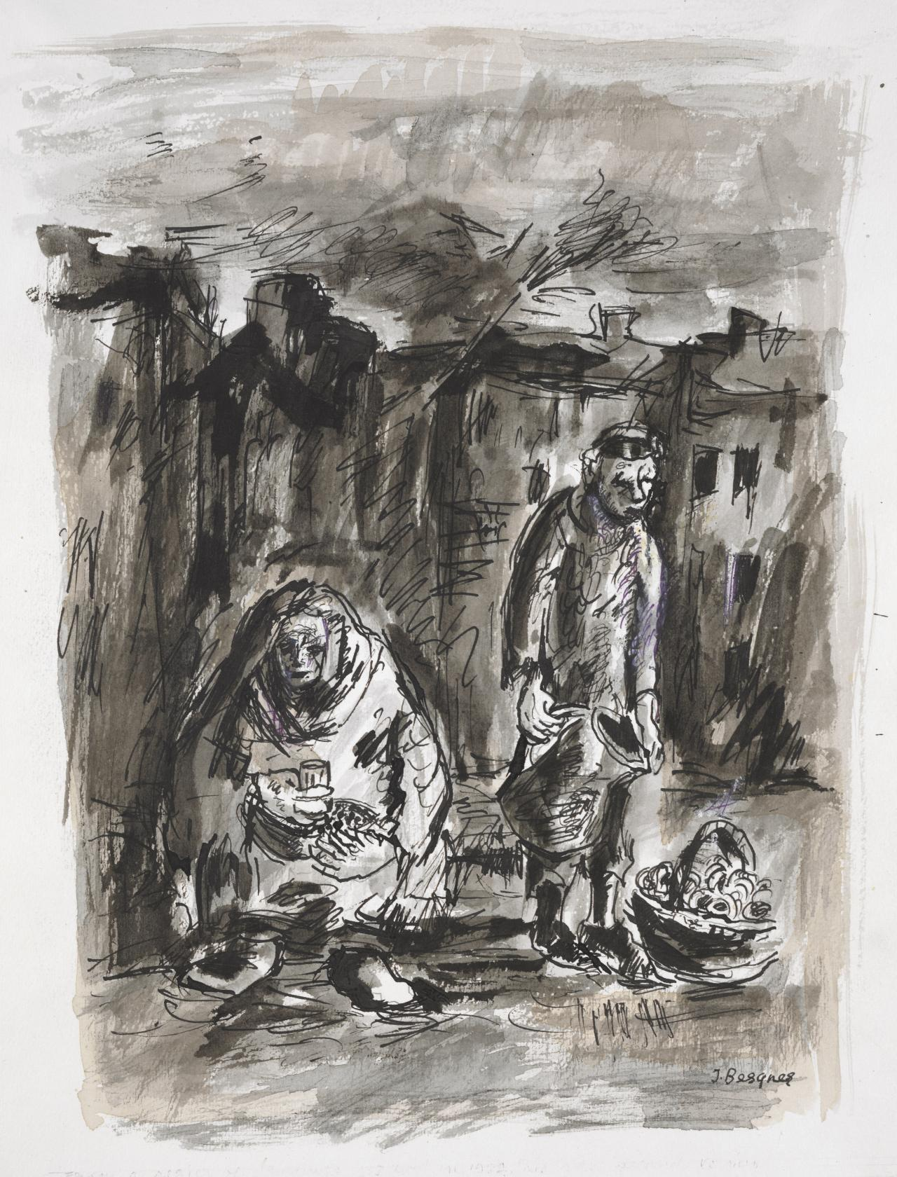 Street scene: seated woman and man with jug