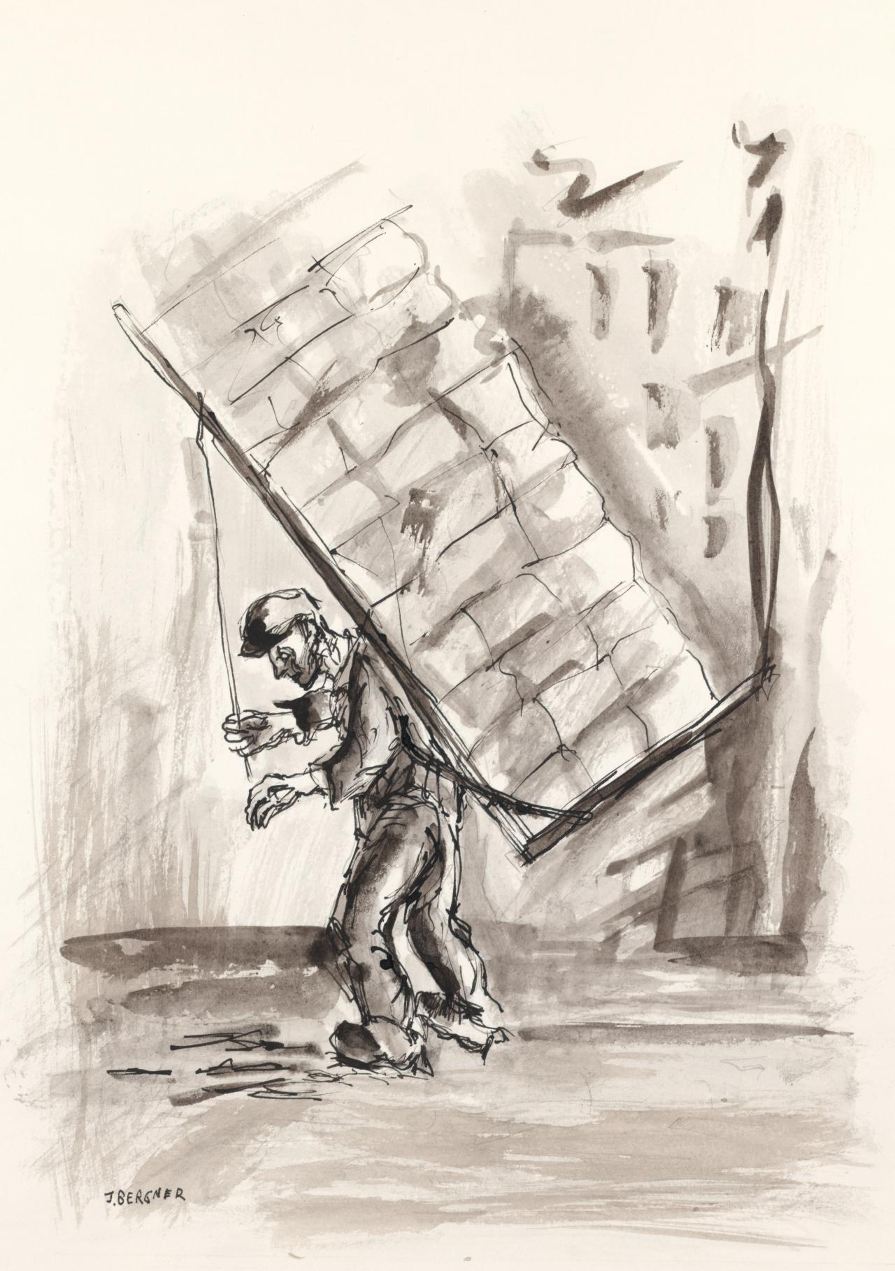 Man carrying a load of bricks