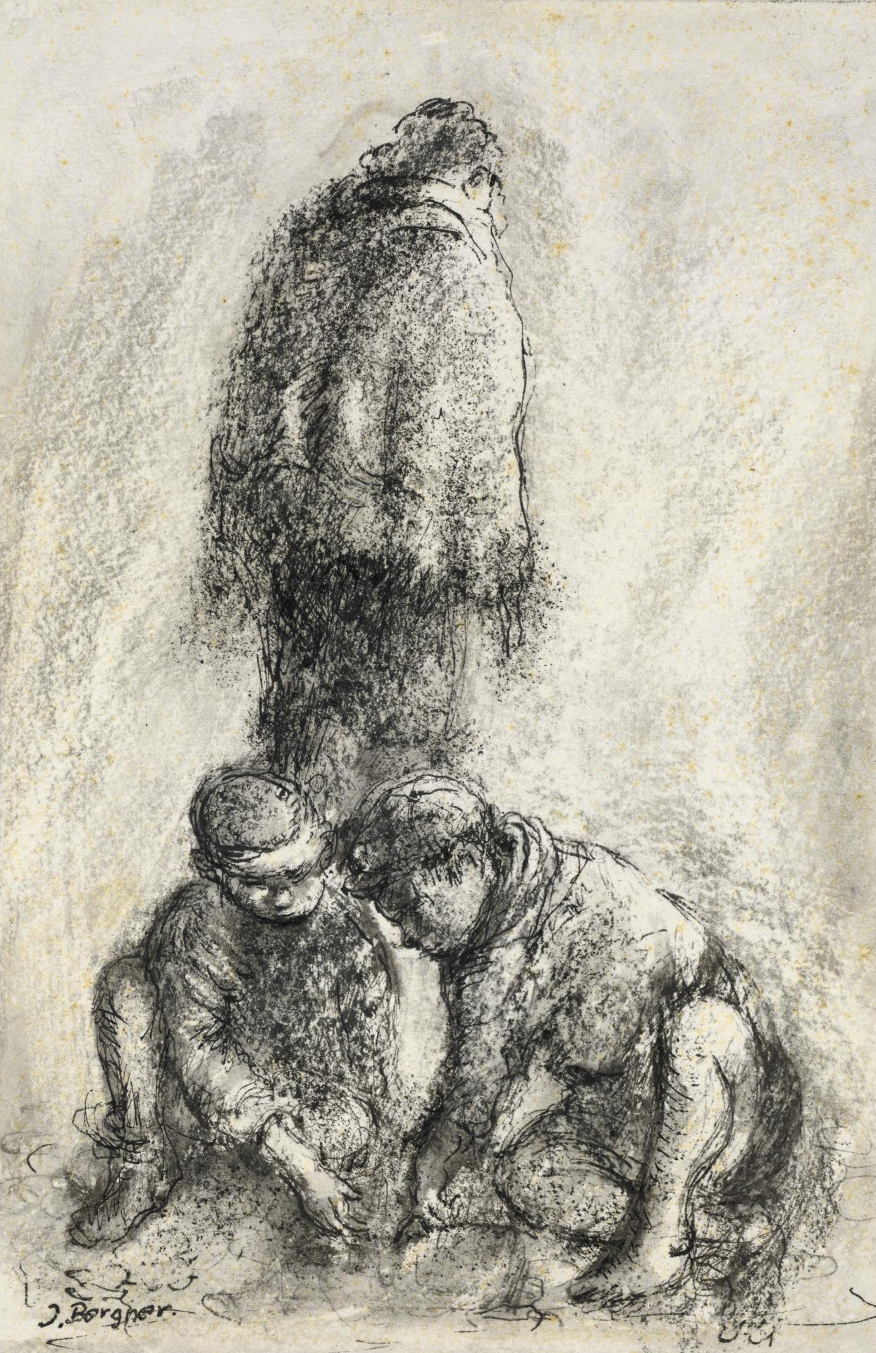 Two children seated on ground with standing figure
