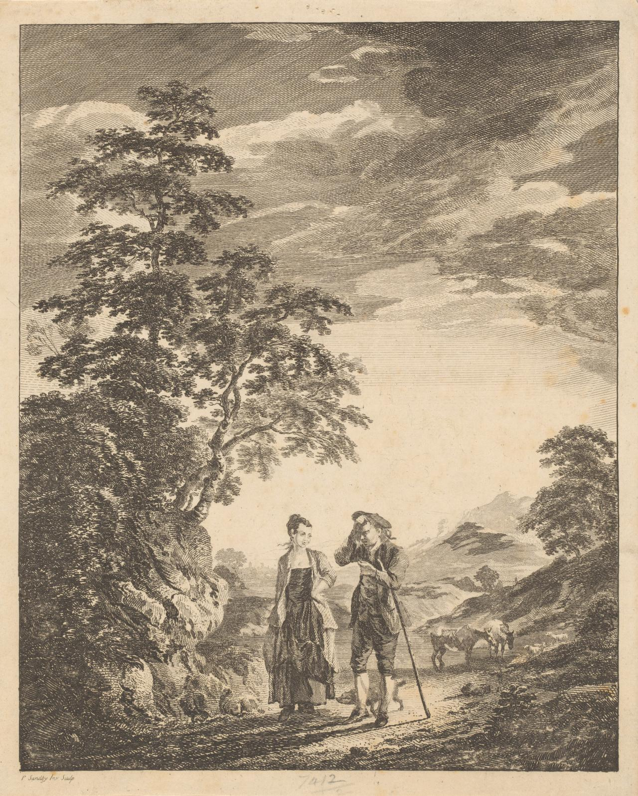 A goatherd and a woman in a rural landscape