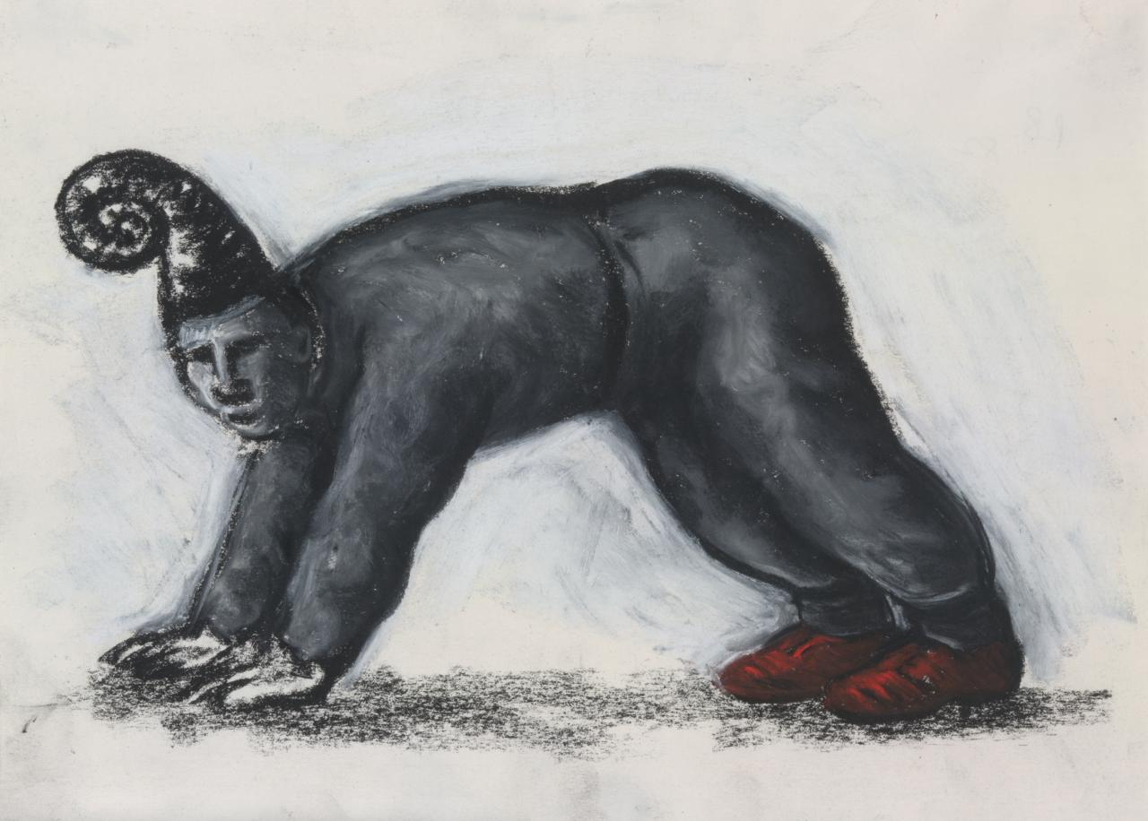 Drawing (Figure on all fours with red shoes)