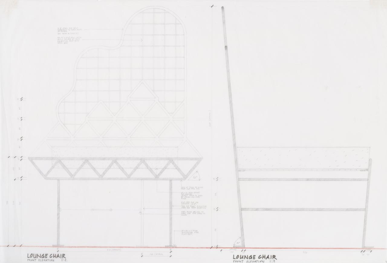 Design for lounge chair (front and side elevation)