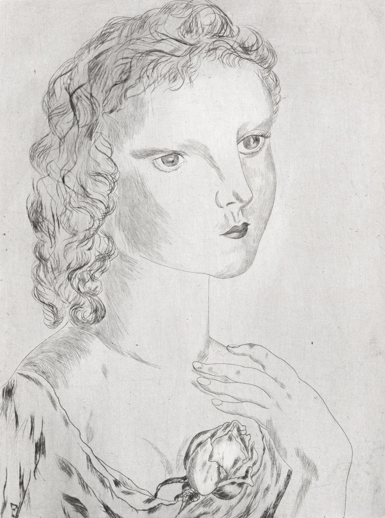 Young girl with rose