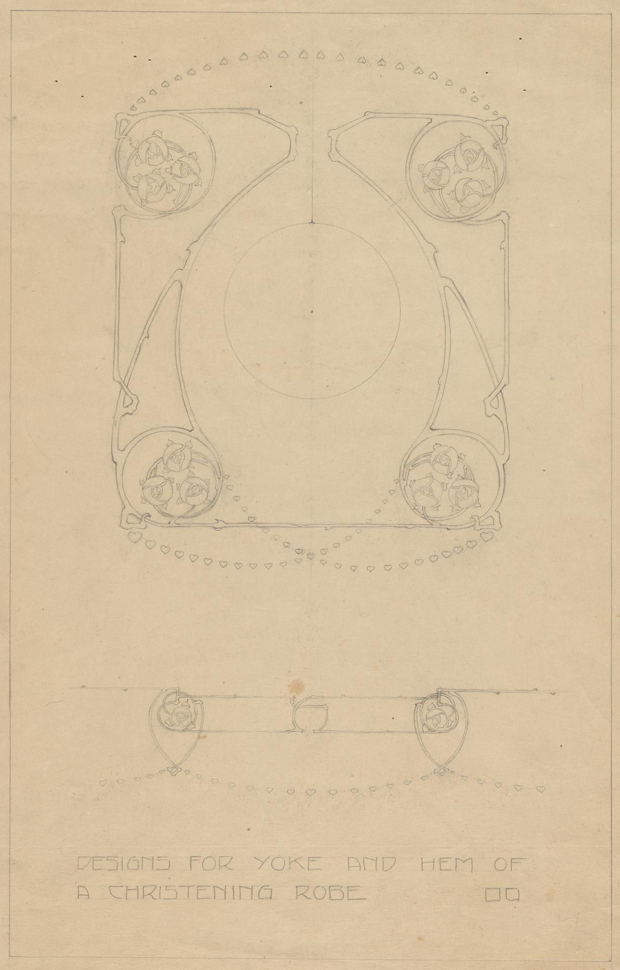 Design for a yoke and hem of a christening robe