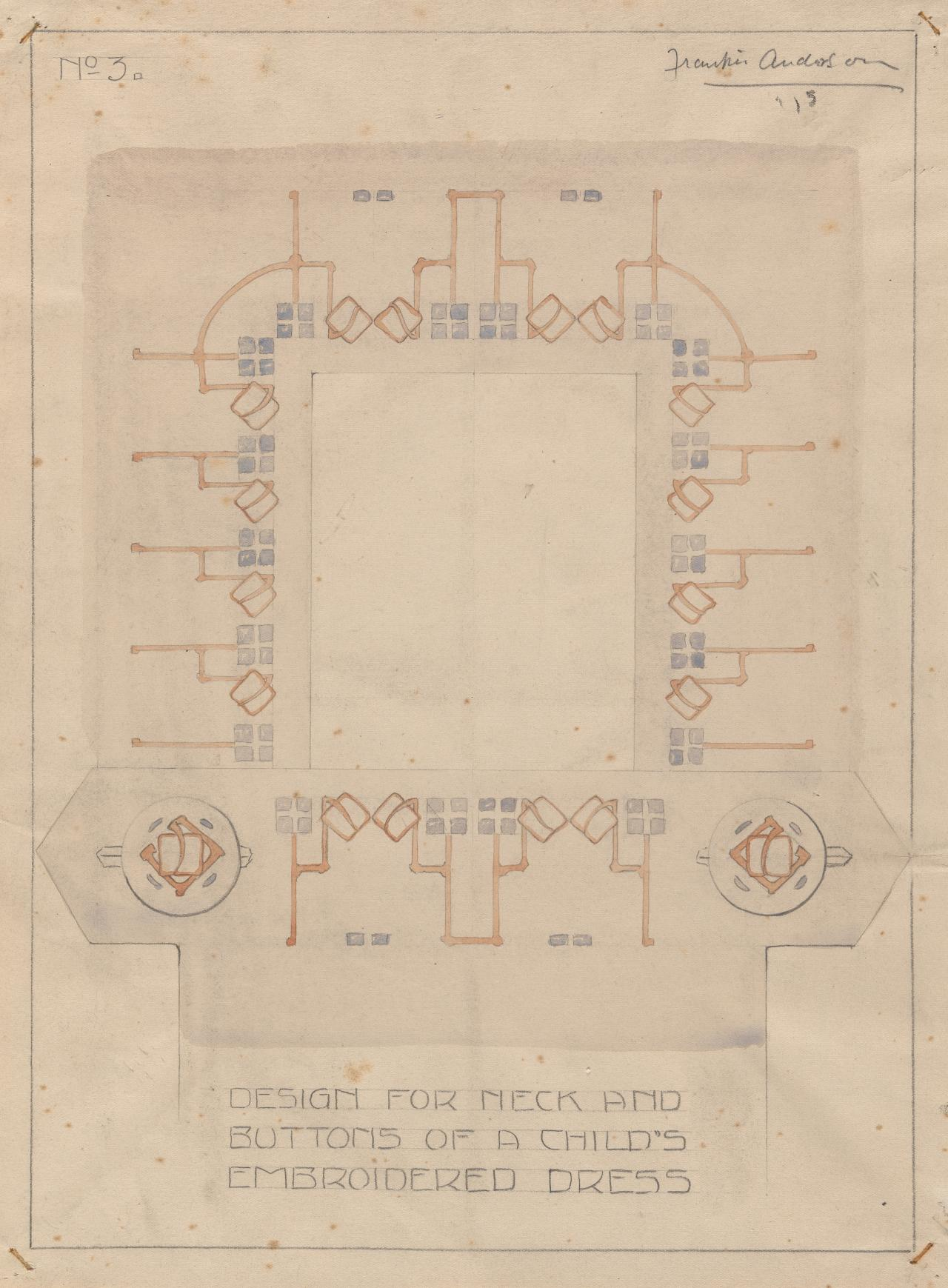 Design for neck and buttons of a child's embroidered dress