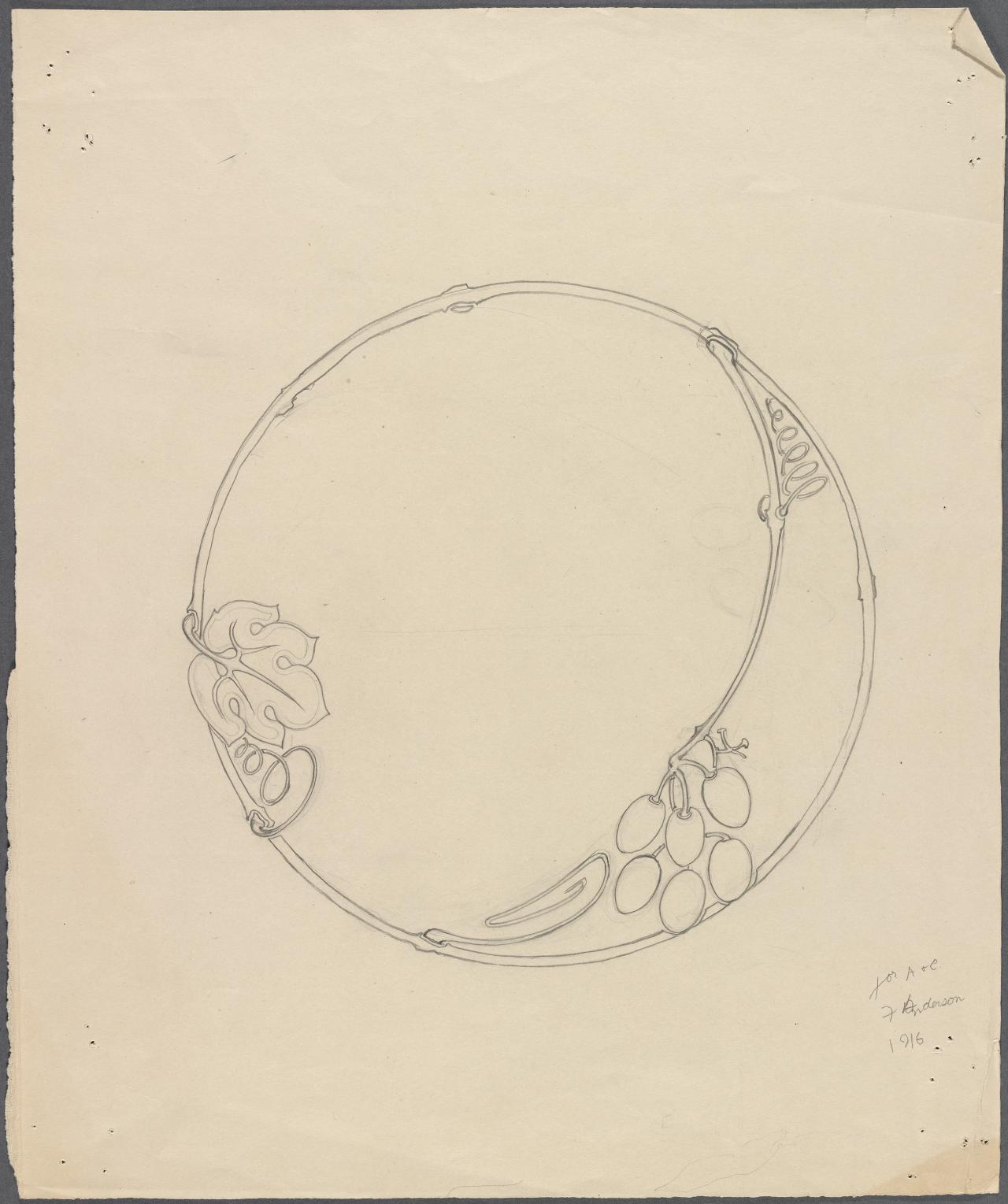 Circular motif with grapes