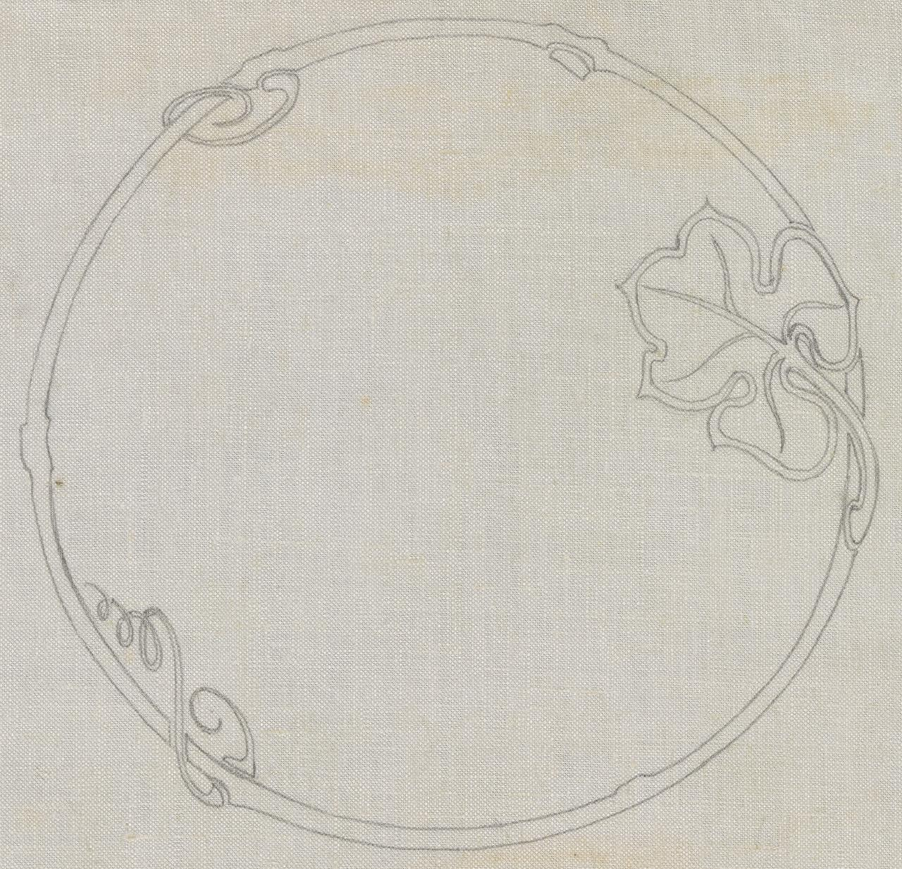 Circular motif with vine leaves (no grapes)