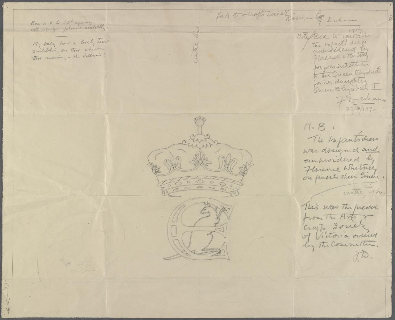 Design for presentation to Queen Elizabeth