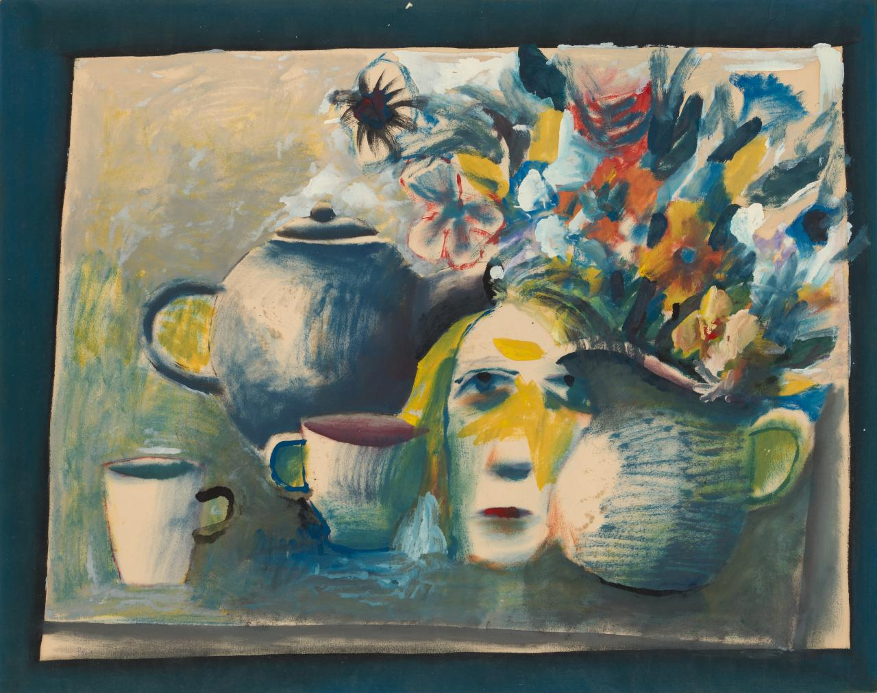 Tea set with flowers and face
