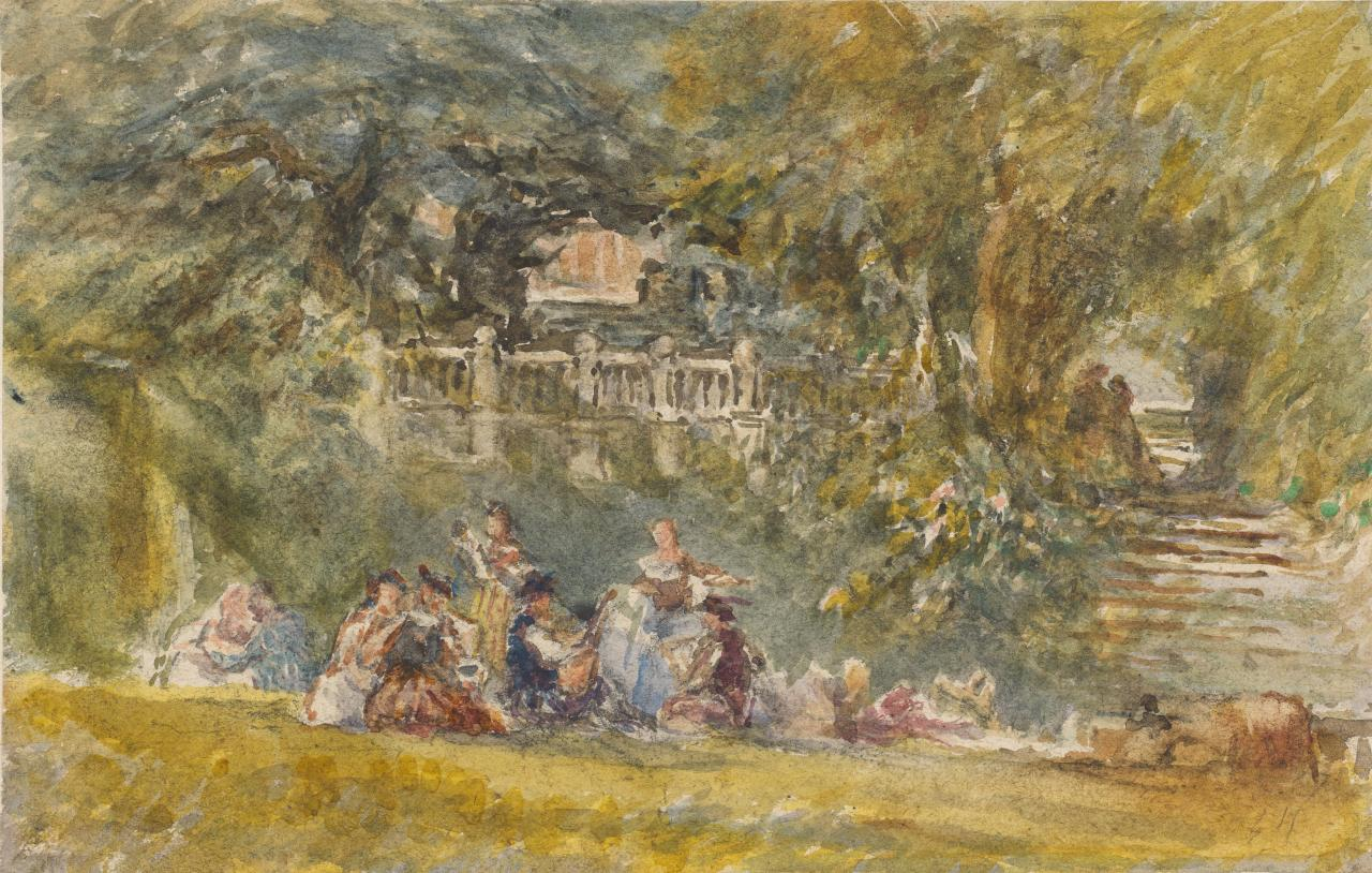 Ladies in a country house garden