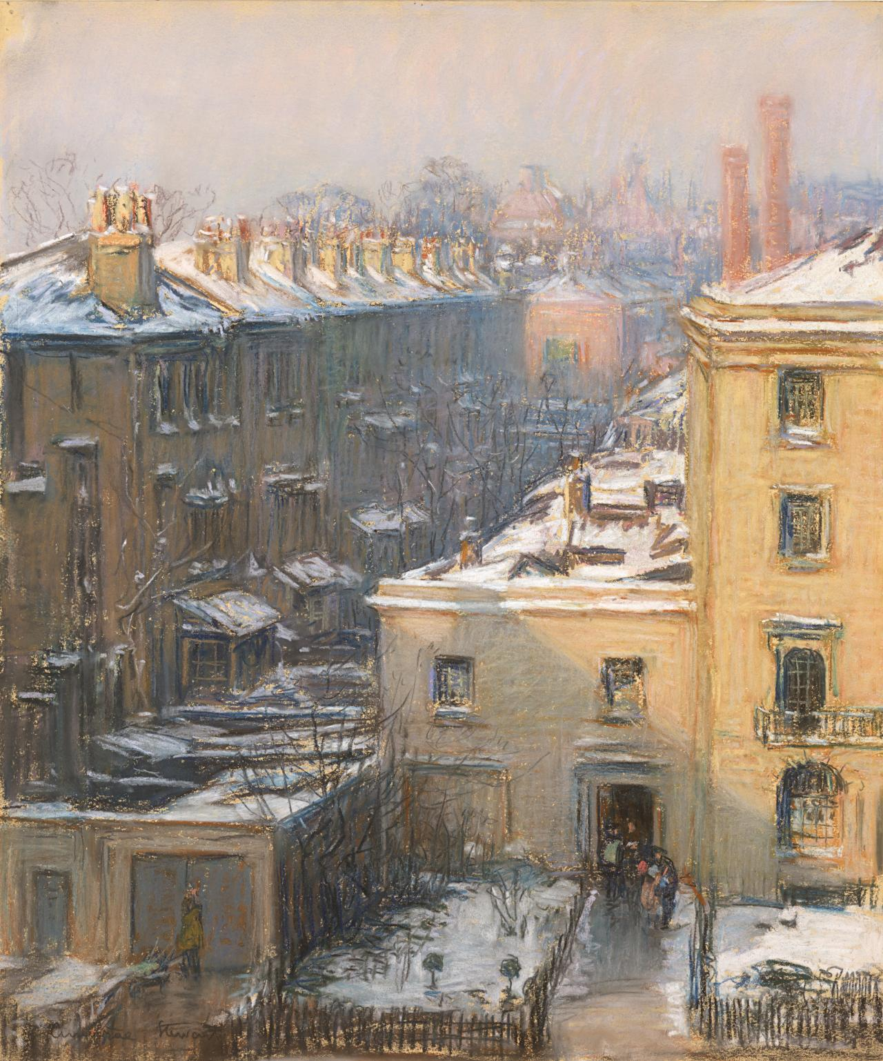 London, houses in snow