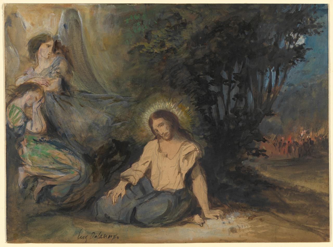 Christ in the garden of olives eug ne delacroix ngv for Au jardin des oliviers barr