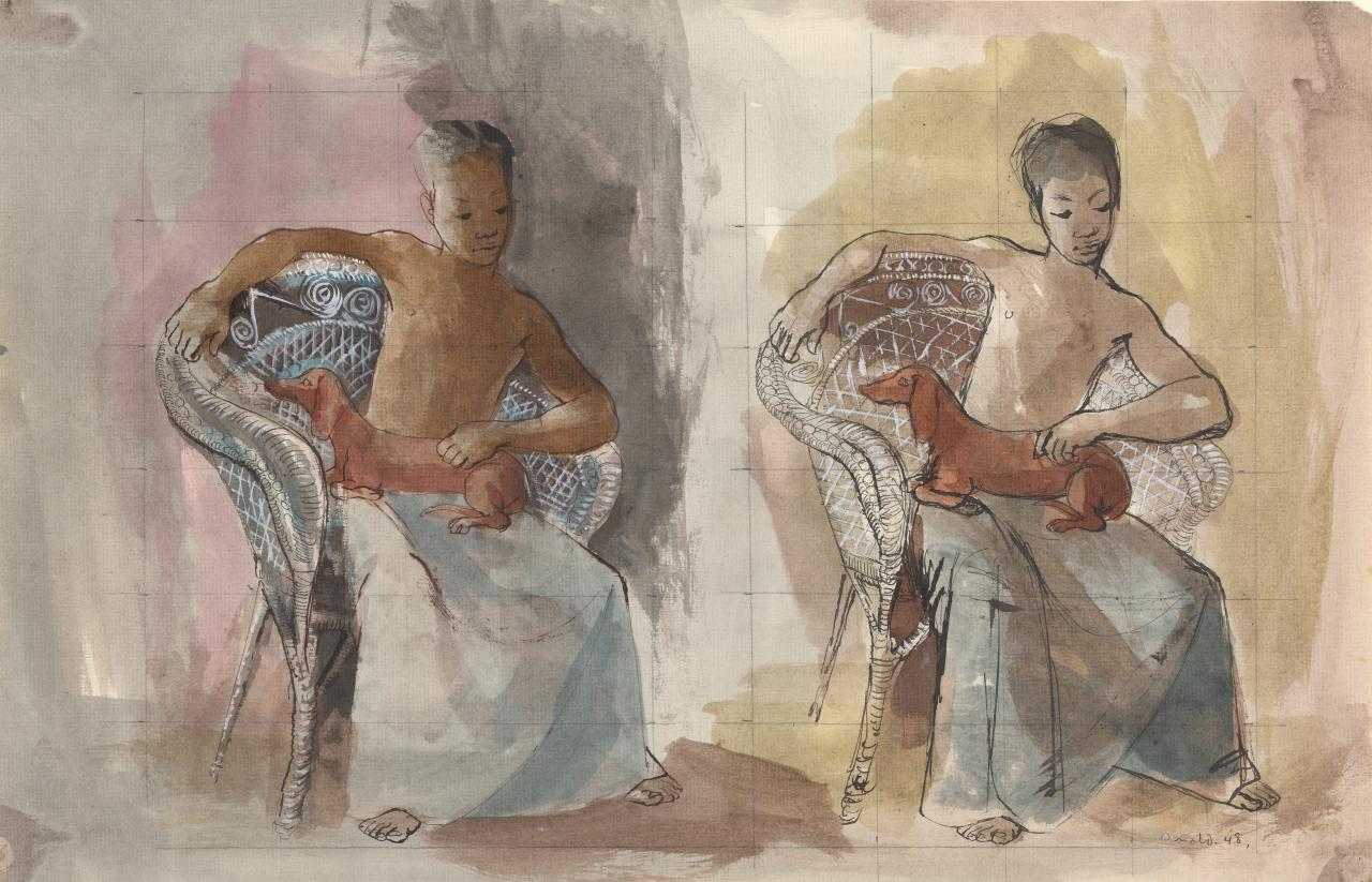 Two studies for a native boy with dog