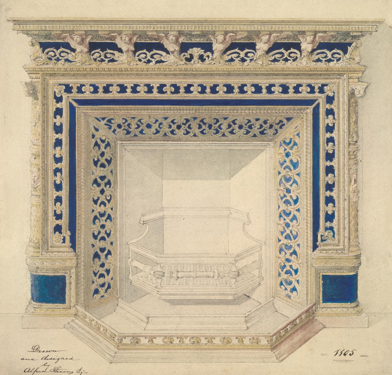 Design for Blue and gold stove for Hoole & Co.